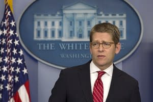 White House Press Secretary Jay Carney listens to a question during his daily news briefing at the White House in Washington, Thursday, Nov. 29, 2012, as President Barack Obama was having a private lunch with former Republican presidential candidate Mitt Romney. (AP Photo/Jacquelyn Martin)