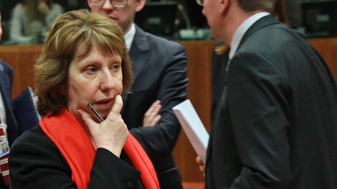 EU foreign policy chief Catherine Ashton reflects, prior to an extraordinary foreign ministers meeting on Ukraine, at the European Council building in Brussels, Thursday, Feb. 20, 2014. The 28-nation European Union holds an emergency meeting on Ukraine, to consider sanctions against those behind the violence. (AP Photo/Yves Logghe)