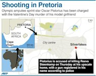 Graphic showing Silverlakes in South Africa's Pretoria, where Olympic amputee sprint star Oscar Pistorius is accused of killing his model girlfriend on Valentine's Day