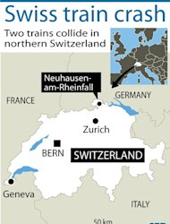 Map locating where two passenger trains collided at a train station in northern Switzerland. At least 17 people were injured in the morning rush hour collision, police said