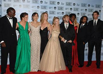 "Adewale Akinnuoye-Agbaje, Evangeline Lilly, Yunjin Kim, Cynthia Watros, Emilie de Ravin, Dominic Monaghan, Harold Perrineau Jr., Maggie Grace, Naveen Andrews and Matthew Fox Best Drama Series - ""Lost"" 63rd Annual Golden Globe Awards - Press Room Beverly Hills, CA - 1/16/06"