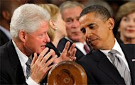 Clinton talking to President Obama at the funeral service for Senator Ted Kennedy. Esquire interviewed the former president on August 7, just forty-eight hours after he returned from North Korea. credit:Brian Snyder/AFP via Newscom 