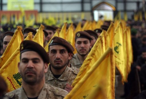 Hezbollah militants gather in a southern suburb of Beirut in 2008. An Israeli court has extended the remand of 10 Arab Israelis for allegedly smuggling explosives from Lebanon into Israel at the request of the Shiite Hezbollah militia, officials said