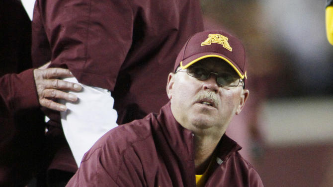 FILE - In this Sept. 22, 2012, file photo, Minnesota head coach Jerry Kill looks up from the sideline during the second half of NCAA college football game against Syracuse in Minneapolis. Minnesota enters Big Ten play as one of only three unbeaten teams in the conference, bringing plenty of confidence into the tougher part of the schedule. (AP Photo/Andy King, File)
