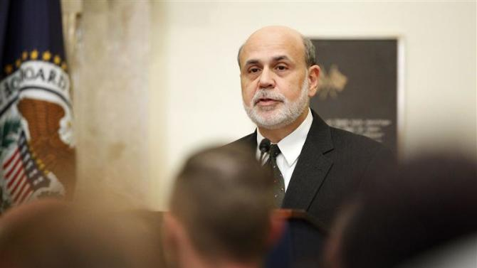 U.S. Federal Reserve Chairman Bernanke addresses a town hall event for teachers in Washington