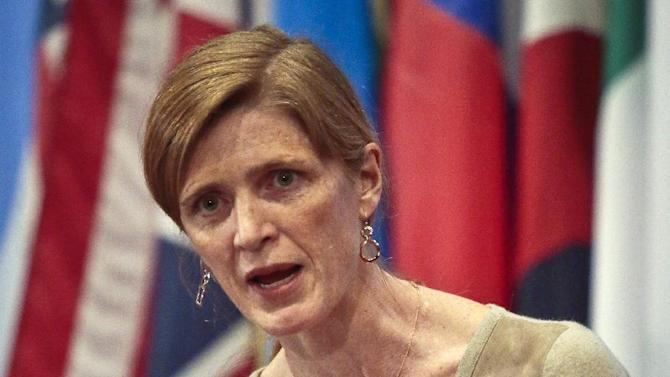 """File-This Feb. 28, 2014, file photo shows Samantha Power, U.S. Ambassador to the U.N., speaking during a news conference after a private U.N. Security Council meeting. Power is going to visit all three of the West African countries hit hardest by the Ebola outbreak. A statement released late Saturday, Oct. 25, 2014, by the U.S. mission to the U.N. says Samantha Power will visit Liberia, Sierra Leone and Guinea """"to draw attention to the need for increased support for the international response."""" (AP Photo/Bebeto Matthews, File)"""