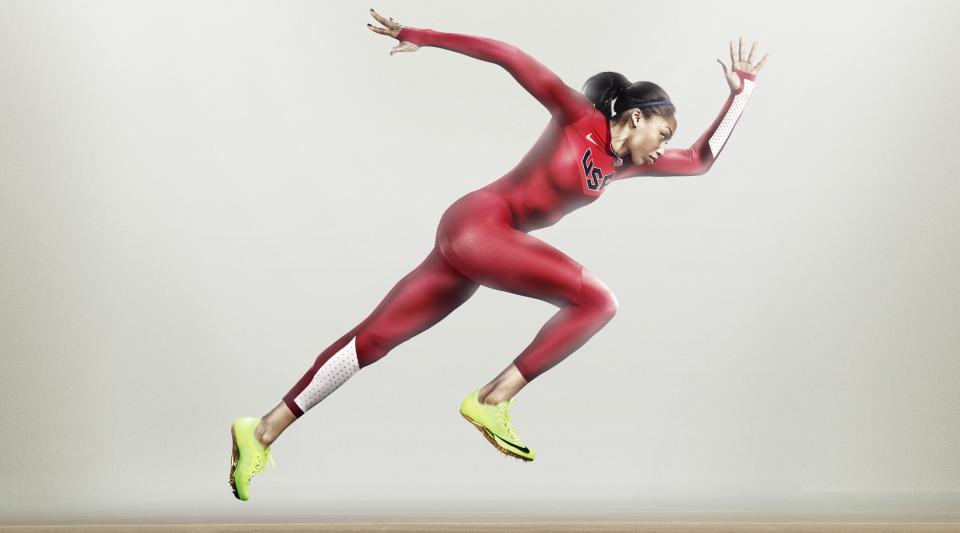 This product illustration released by Nike shows a Turbospeed suit, the official apparel for the USA Track & Field team for the London Summer Olympics. U.S. Olympic track and field athletes will wear the uniforms at the London Olympics that Nike says could shave up to 0.023 seconds off 100-meter sprint times. (AP Photo/Nike)