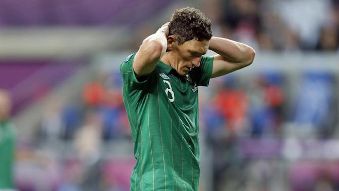 Ireland's Keith Andrews reacts during the Euro 2012 soccer championship Group C match between the Republic of Ireland and Croatia in Poznan, Poland, Sunday, June 10, 2012. (AP Photo/Peter Morrison)