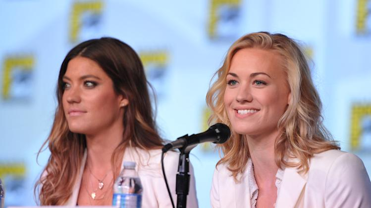 "Jennifer Carpenter and Yvonne Strahovski attend the ""Dexter"" Panel at Comic-Con on Thursday, July 12, 2012, in San Diego, Calif. (Photo by John Shearer/Invision/AP)"