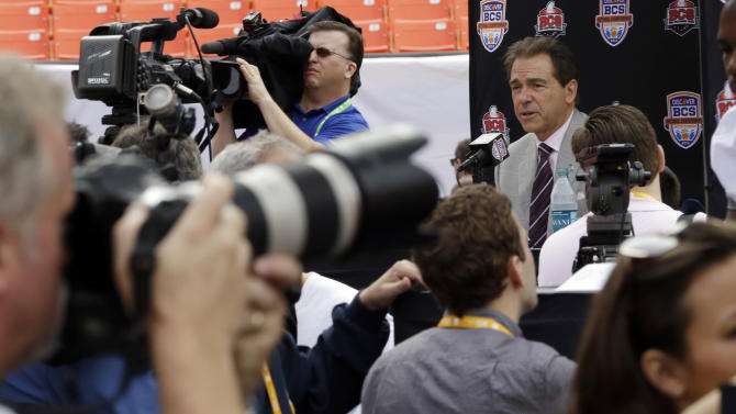 Alabama head coach Nick Saban answers a question during Media Day for the BCS National Championship college football game Saturday, Jan. 5, 2013, in Miami. Alabama faces Notre Dame in Monday's championship game. (AP Photo/David J. Phillip)