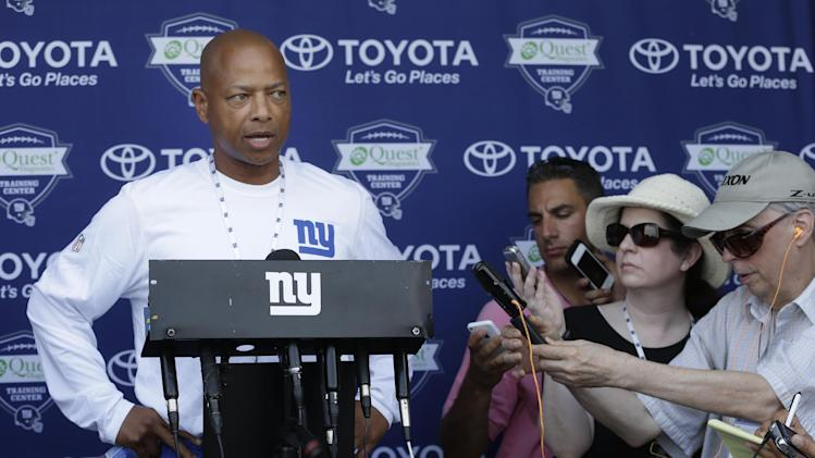 New York Giants general manager Jerry Reese speaks to reporters during an NFL football camp news conference in East Rutherford, N.J., Wednesday, July 23, 2014