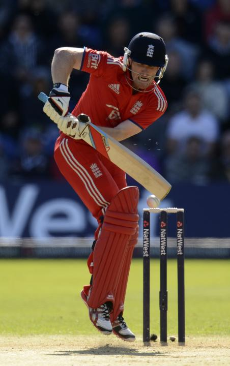 England's Morgan plays a shot during the fourth one-day international against Australia at Sophia Gardens in Cardiff, Wales