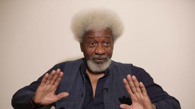 """Nobel Laureate Wole Soyinka, speaks to foreign journalist during an interview in Lagos, Nigeria, Friday, Nov. 9, 2012. Soyinka said Friday his home of Nigeria is """"at war"""" with the radical Islamist sect known as Boko Haram, dismissing calls for peace negotiations he believes only will lead to an """"abysmal appeasement."""" The comments from the 78-year-old playwright and essayist come as Nigeria's northeast remains under almost daily attack by the sect, which is blamed for killing more than 740 people this year alone, according to an Associated Press count. Three police officers died in an apparent bombing carried out by the sect in Yobe state early Friday morning, officials said. (AP Photo/Sunday Alamba)"""