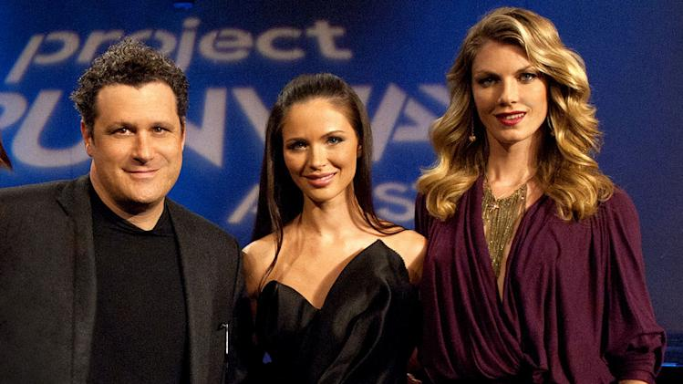 "(L to R) Judges Isaac Mizrahi, Georgina Chapman and host Angela Lindvall in ""Project Runway All Stars."""