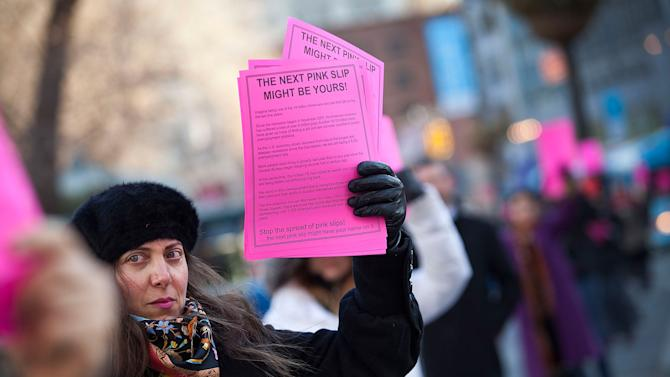 "Labor Activists Hold A ""Pink Slip"" Protest"