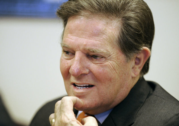 In this Wednesday, Sept. 19, 2012 photo, former House Majority Leader Tom DeLay speaks about his upcoming appeal on a money laundering conviction at his attorney's office in Houston. (AP Photo/Pat Sullivan)