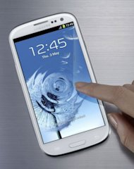 The latest Samsung Electronics&#39; smartphone, the Galaxy S3. New developments include &quot;intelligent camera features&quot; which use face-recognition technology; and enhanced voice-activated controls