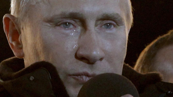 FILE - Russian Prime Minister Vladimir Putin who claimed victory in Russia's presidential election, has tears in his eyes as he emotionally reacts at a massive rally of his supporters at Manezh square outside Kremlin, in Moscow, Russia, in this Sunday, March 4, 2012 file photo. After less than a week in office, he may be tempted to shed some in frustration. Since his inauguration on Monday, the man whose 2000-2008 presidency was characterized by steely control and a cowed opposition has faced a wave of confrontations and misfortunes. (AP Photo/Ivan Sekretarev, file)