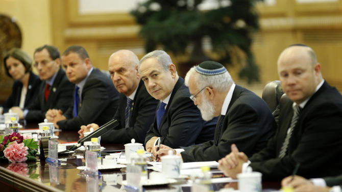 Israel's Prime Minister Benjamin Netanyahu, third from right, attends a meeting with China's Premier Li Keqiang, unseen, at the Great Hall of the People in Beijing Wednesday, May 8, 2013. (AP Kim Kyung-Hoon, Pool)