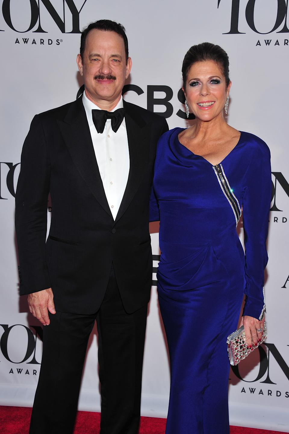 Tom Hanks and Rita Wilson arrives on the red carpet at the 67th Annual Tony Awards, on Sunday, June 9, 2013 in New York. (Photo by Charles Sykes/Invision/AP)