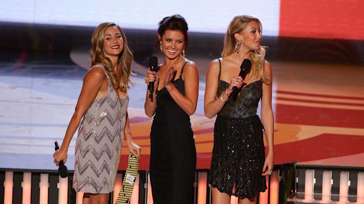 TV Personalities Lauren Conrad, Audrina Patridge and Whitney Port during the 2007 MTV Video Music Awards at The Palms Hotel and Casino.