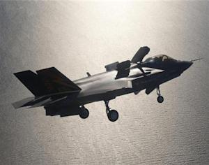 Handout photo of A F-35 fighter jet preparing for landing with its life fan cover deployed over Patuxent River Naval Air Station, Maryland
