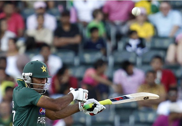 Pakistan's Riaz plays a shot during their third One Day International cricket match against South Africa in Johannesburg