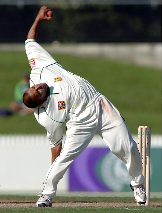 South Africa's spin bowler Paul Adams shows his un