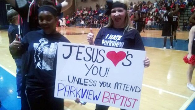 'Jesus Loves You' sign