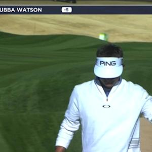 Bubba Watson rattles the flag stick on No. 14 at Waste Management