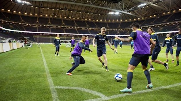 Sweden train at their new Friends Arena in Stockholm (Reuters)