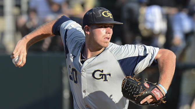 Georgia Tech pitcher Buck Farmer throws to a Vanderbilt batter in the first inning of an NCAA college baseball tournament regional game Monday, June 3, 2013, in Nashville, Tenn. (AP Photo/Mark Zaleski)