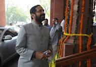 Suresh Kalmadi, India&#39;s former Olympics chief, arrives at parliament in New Delhi on March 12, 2012. He pleaded not guilty in court on Monday to an array of corruption charges related to his handling of the chaotic Delhi Commonwealth Games in 2010