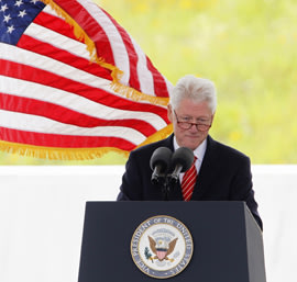 Former U.S. president Bill Clinton speaks at the ceremony marking the opening of the Flight 93 National Memorial, September 10, 2011. (REUTERS/Jason C...
