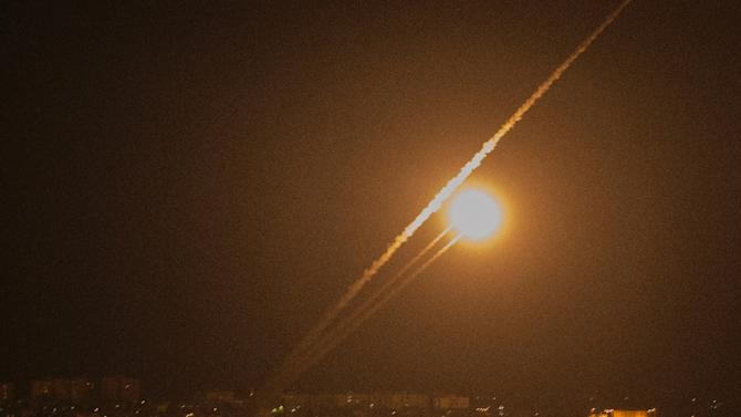 A rocket is launched from the Gaza strip towards Israel on July 12, 2014
