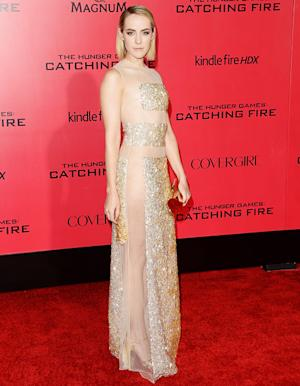 Jena Malone Goes Without Underwear in See-Through, Gold Sparkly Dress at Hunger Games: Catching Fire L.A. Premiere