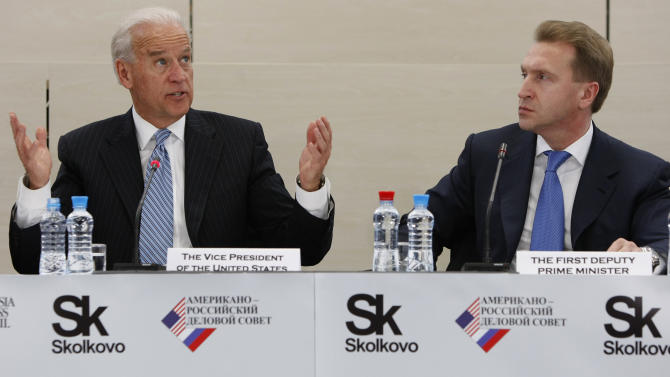 Vice President of the United States Joe Biden, left, and First Deputy Prime Minister Igor Shuvalov lead a roundtable discussion with Russian and American business leaders, unseen, at the Skolkovo innovation center outside Moscow,  Russia, Wednesday, March 9, 2011. The talks in Moscow are expected to focus on missile defense cooperation and Russia's efforts to join the World Trade Organization. (AP Photo/Alexander Zemlianichenko)