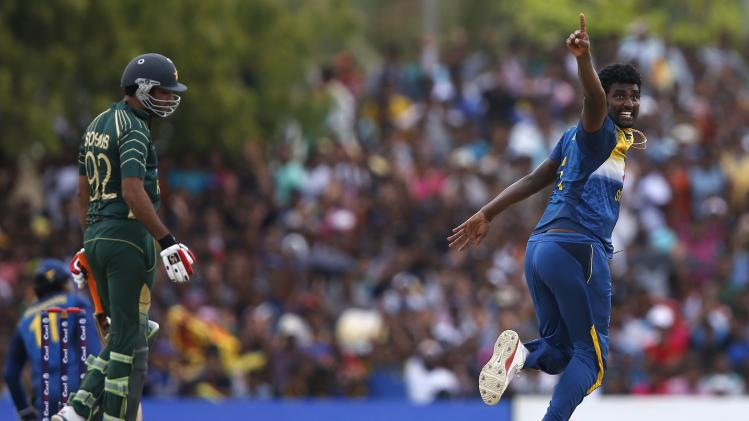 Sri Lanka's Perera appeals for a successful wicket for Pakistan's Maqsood during their final ODI cricket match in Dambulla