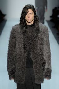 At Duckie Brown, a male runway model in fur. (Photo by Jemal Countess/Getty Images for IMG)