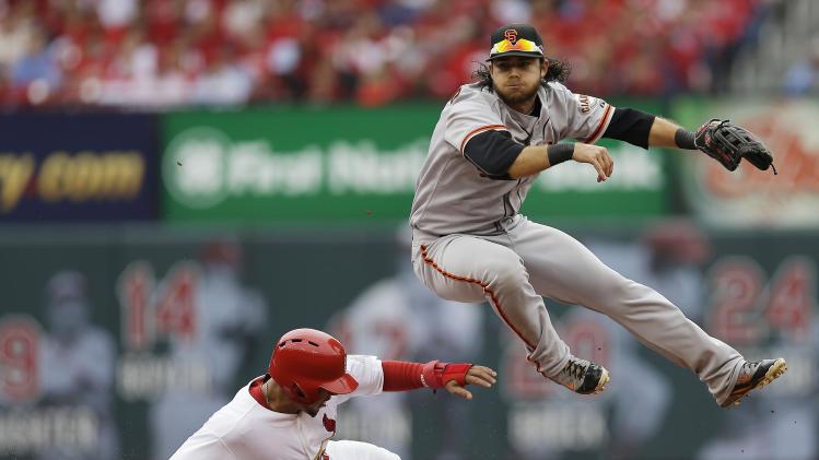 San Francisco Giants shortstop Brandon Crawford (35) throws to first base for a double play as St. Louis Cardinals' Jon Jay (19) slides to second and Carlos Beltran (3) at first are out during the second inning of Game 3 of baseball's National League championship series Wednesday, Oct. 17, 2012, in St. Louis. (AP Photo/David J. Phillip)