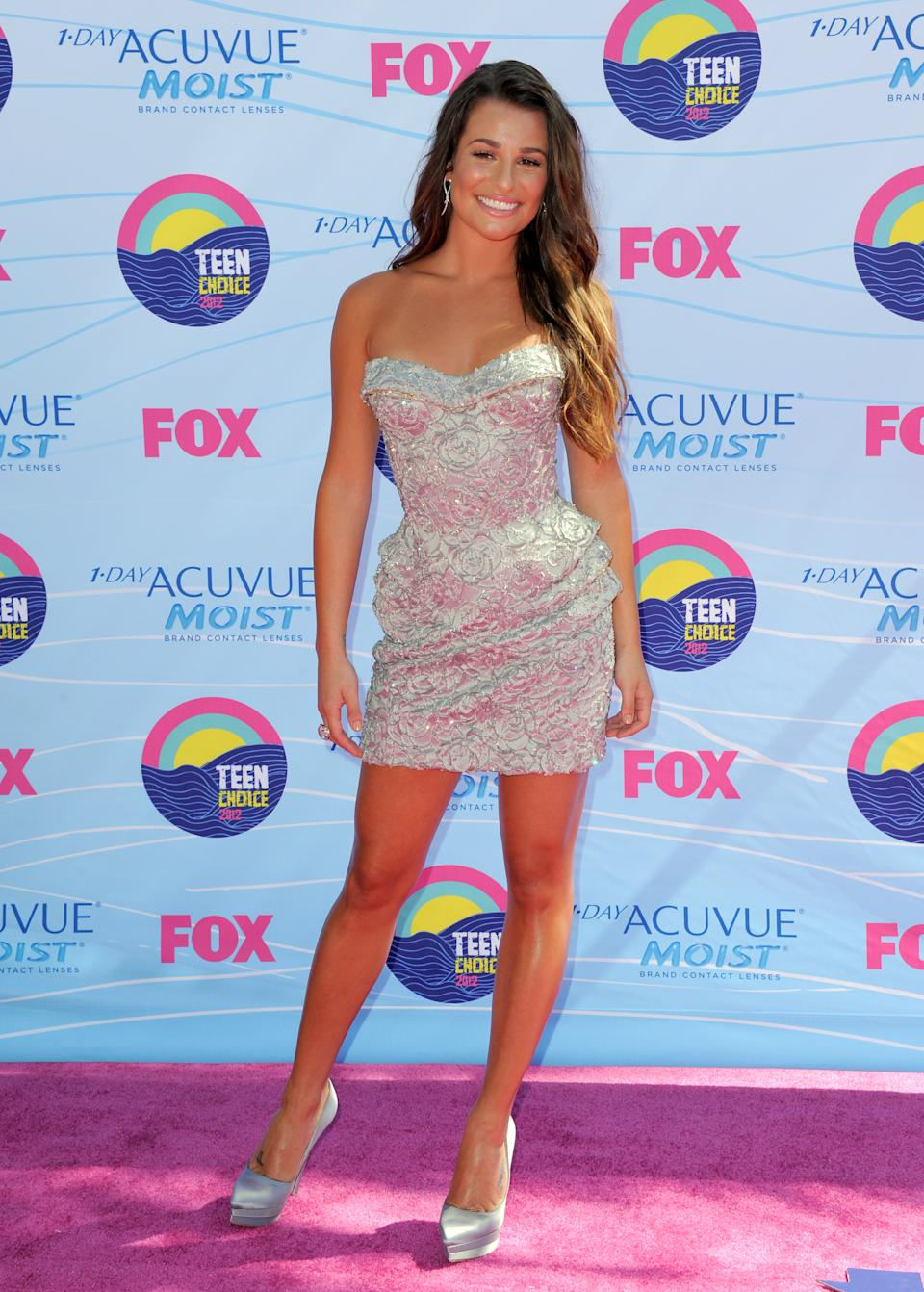 Lea Michele arrives at the Teen Choice Awards on Sunday, July 22, 2012, in Universal City, Calif. (Photo by Jordan Strauss/Invision/AP)