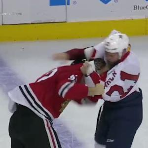 Krys Barch and Brandon Bollig scrap