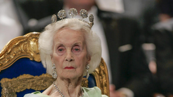 FILE - In this Dec. 10, 2005 file photo Princess Lilian of Sweden is seen in Stockholm.  Welsh-born Princess Lilian of Sweden, whose decades-long love story with the king's uncle was one of the better kept secrets of the royal household, has died. She was 97. The Royal Palace says Lilian died Sunday March 10, 2013 in her home in Stockholm. (AP Photo/Henrik Montgomery, File) SWEDEN OUT