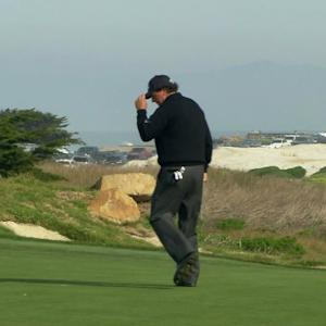 Phil Mickelson cards his fifth birdie of Round 2 at AT&T Pebble Beach