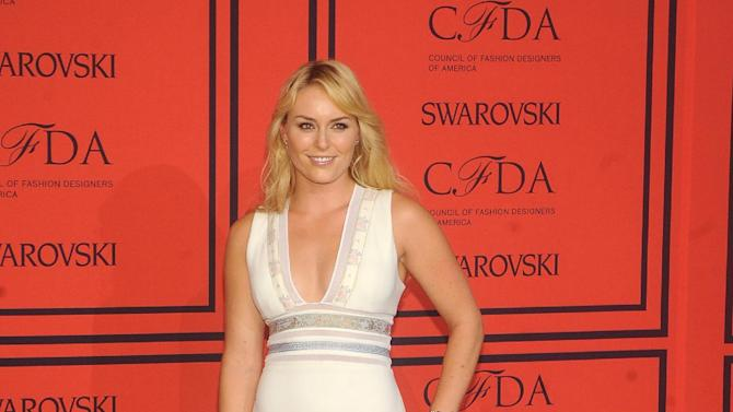 World Cup alpine ski racer Lindsey Vonn arrives at the 2013 CFDA Fashion Awards at Alice Tully Hall on Monday, June 3, 2013 in New York. (Photo by Brad Barket/Invision/AP)
