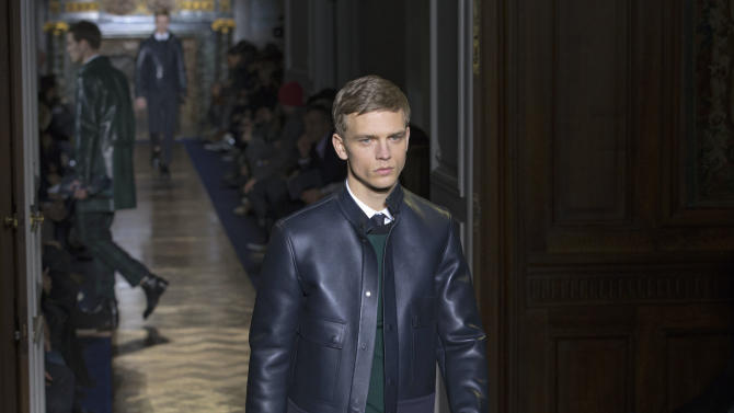 A model wears a creation by fashion designers Maria Grazia Chiuri and Pier Paolo Piccioli for Valentino, as part of their presentation for the men's Spring Summer 2013 Haute Couture fashion collection presented in Paris, Wednesday, Jan. 16 2013. (AP Photo/ Jacques Brinon)