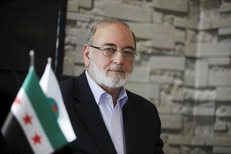 Mohamed Walid, head of the Syrian Muslim Brotherhood, speaks during an interview with Reuters in Istanbul