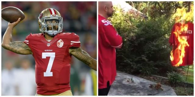 Colin Kaepernick Didn't Stand During The Nation Anthem, So One Fan Burned His Jersey