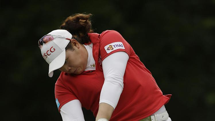 Ariya Jutanugarn, of Thailand, watches her drive from the 16th tee during the final round of the Mobile Bay LPGA Classic golf tournament at the Robert Trent Jones Golf Trail at Magnolia Grove in Mobile, Ala. Sunday, May 19, 2013. (AP Photo/Dave Martin)