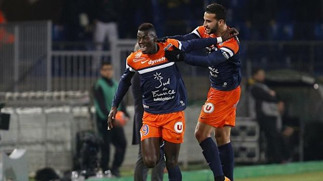 M'Baye Niang (L) of Montpellier jubilates after his goal against Monaco (Reuters)
